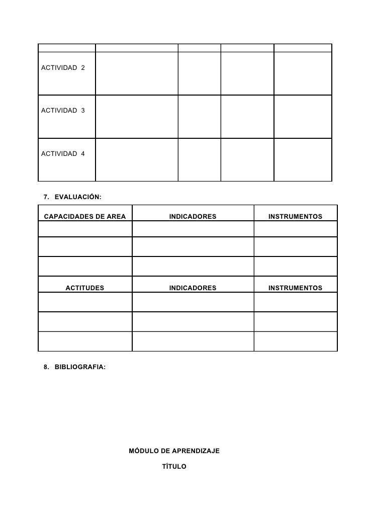 Formatos De Proyectos Y Modulos De Aprendizaje