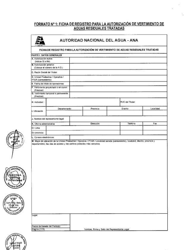 FORMATO N° 1: FICHA DE REGISTRO PARA LA AUTORIZACIÓN DE VERTIMIENTO DE AGUAS RESIDUALES TRATADAS as AUTORIDAD NACIONAL DEL...
