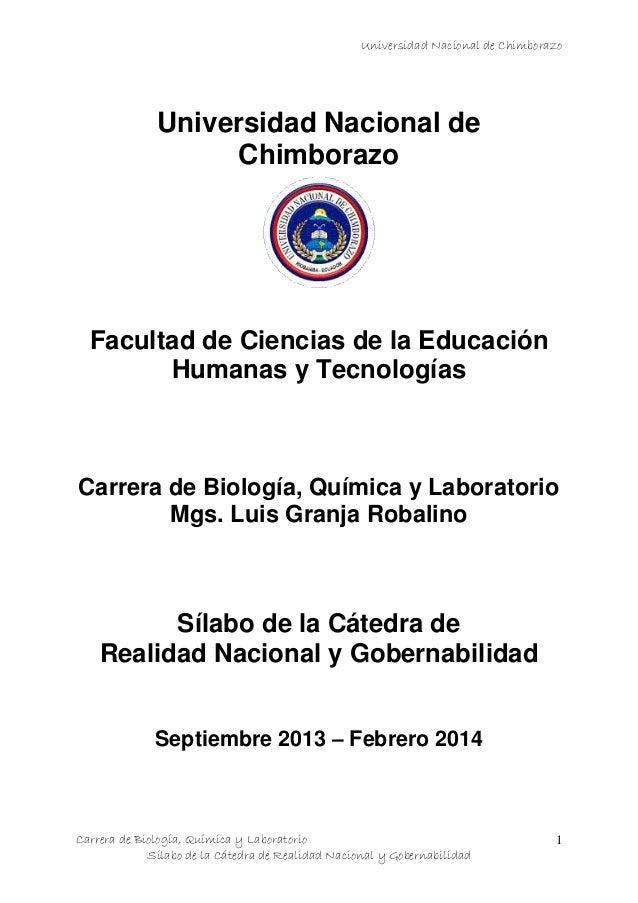 Universidad Nacional de Chimborazo Carrera de Biología, Química y Laboratorio Sílabo de la Cátedra de Realidad Nacional y ...