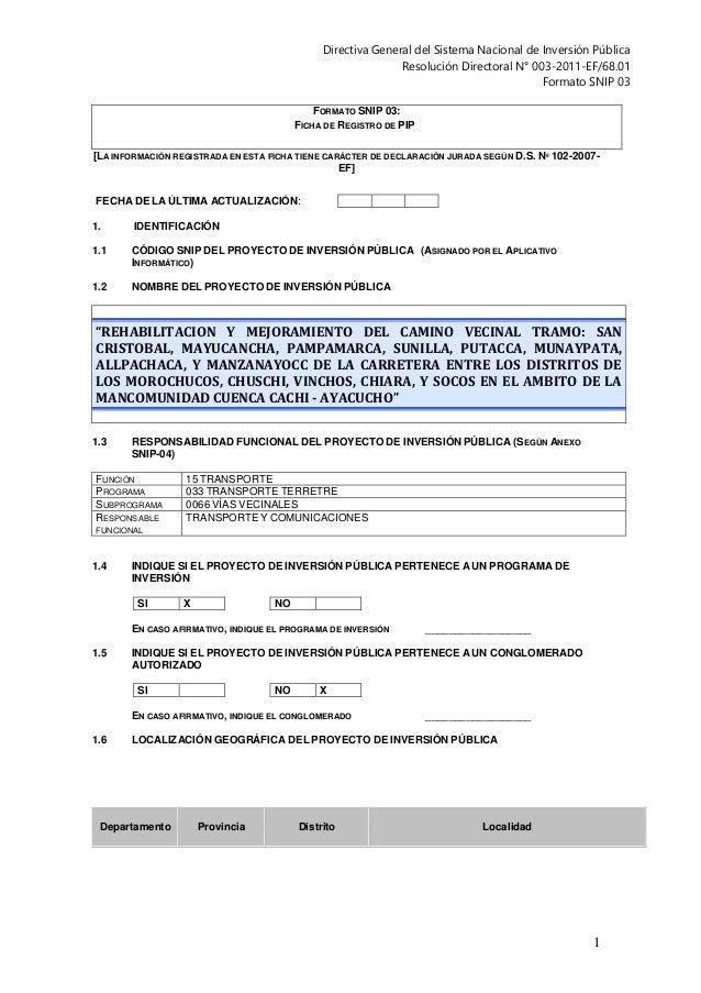 Directiva General del Sistema Nacional de Inversión Pública  Resolución Directoral N° 003-2011-EF/68.01  Formato SNIP 03  ...