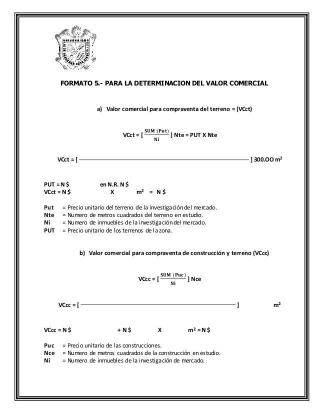 Formatos de exploracion y concreto for Precio del mercado de concreto encerado