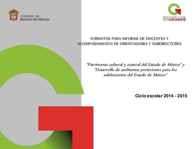 """FORMATOS PARA INFORME DE DOCENTES Y  ACOMPAÑAMIENTO DE ORIENTADORES Y SUBDIRECTORES  """"Patrimonio cultural y natural del Es..."""