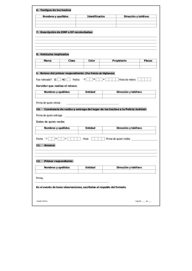6. Testigos de los hechos        Nombres y apellidos                   Identificación                  Dirección y teléfon...