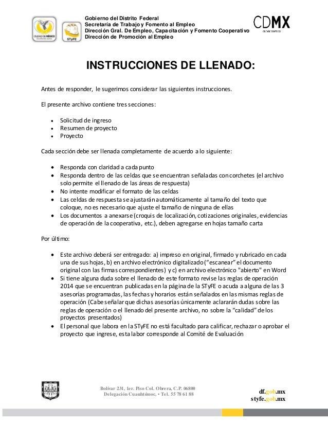Gobierno del Distrito Federal  Secretaría de Trabajo y Fomento al Empleo  Dirección Gral. De Empleo, Capacitación y Foment...