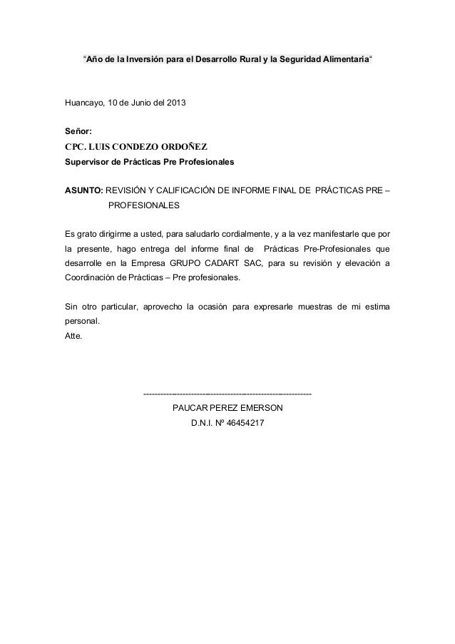 """""""Año de la Inversión para el Desarrollo Rural y la Seguridad Alimentaria""""Huancayo, 10 de Junio del 2013Señor:CPC. LUIS CON..."""