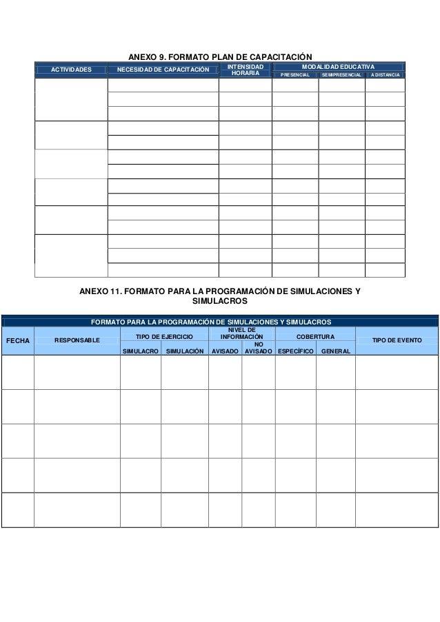 Formatos y cronograma de prevenci n de desastres for Cronograma jardin infantil 2015