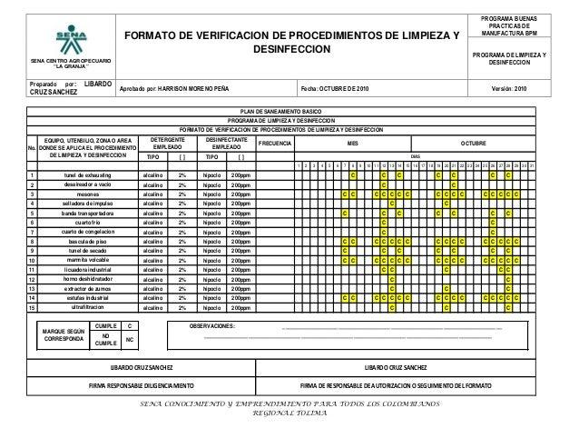 """SENA CENTRO AGROPECUARIO """"LA GRANJA"""" FORMATO DE VERIFICACION DE PROCEDIMIENTOS DE LIMPIEZA Y DESINFECCION PROGRAMA BUENAS ..."""