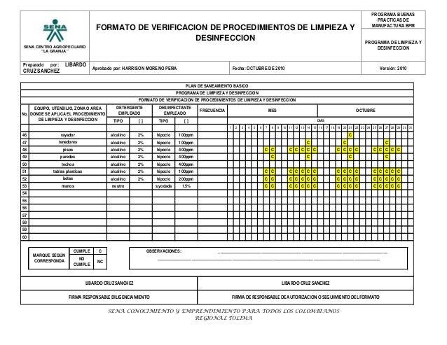 Formato verificacion programa l d fruhor for Limpieza y desinfeccion de equipos