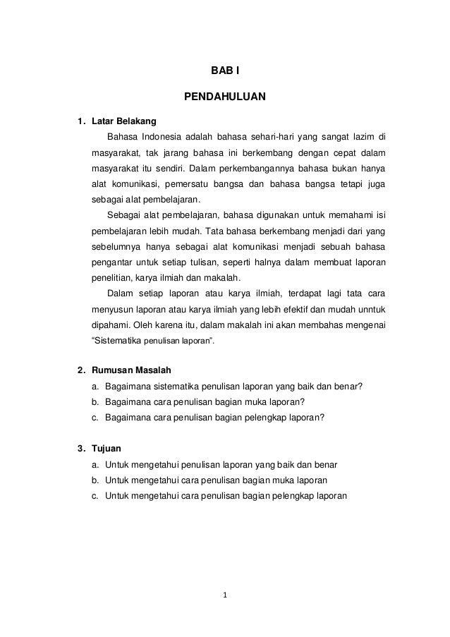 Format penulisan laporan