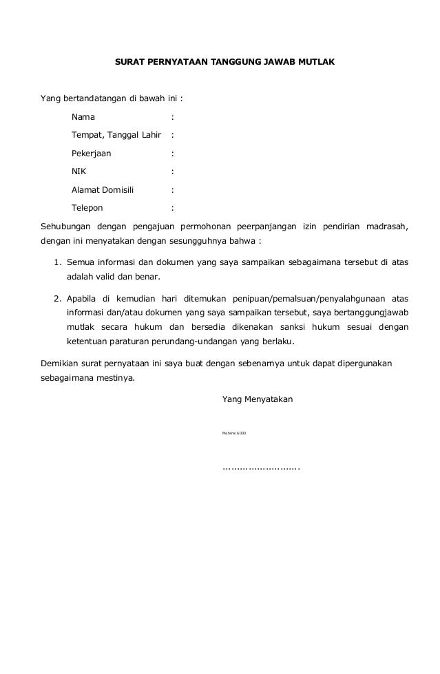 Contoh Surat Ijin Operasional Sekolah