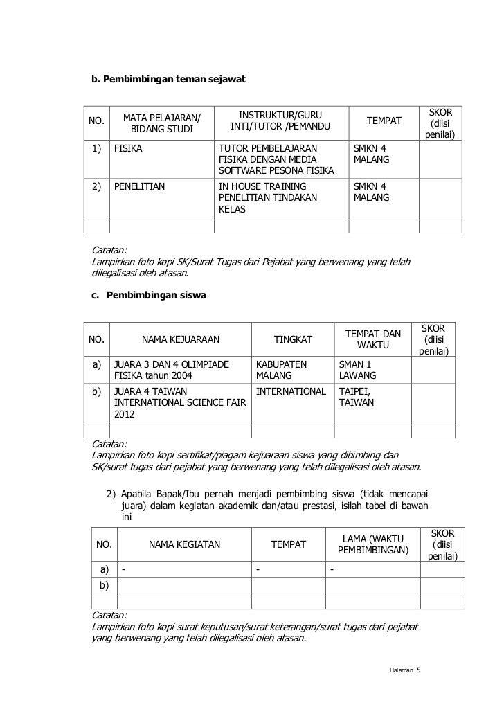 Format Portofolio Guru Berprestasi 2012