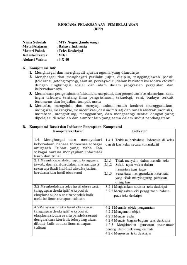 RENCANA PELAKSANAAN PEMBELAJARAN (RPP) Nama Sekolah : MTs Negeri Jambewangi Mata Pelajaran : Bahasa Indonesia Materi Pokok...