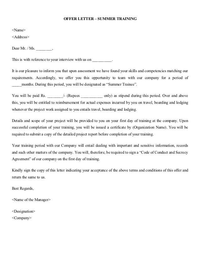 Confirmation Letter Format For Project Training.  14 OFFER LETTER Formats