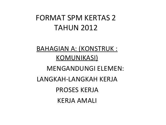 FORMAT SPM KERTAS 2 TAHUN 2012 BAHAGIAN A: (KONSTRUK : KOMUNIKASI) MENGANDUNGI ELEMEN: LANGKAH-LANGKAH KERJA PROSES KERJA ...