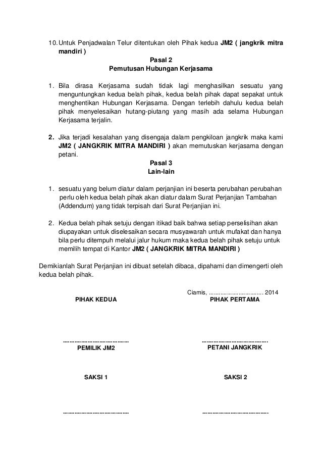 format surat kerjasama