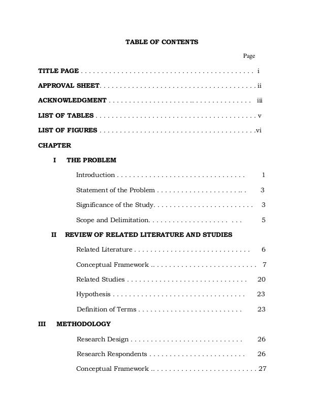 Thesis Table Of Contents Template - Thesis Title Ideas For College