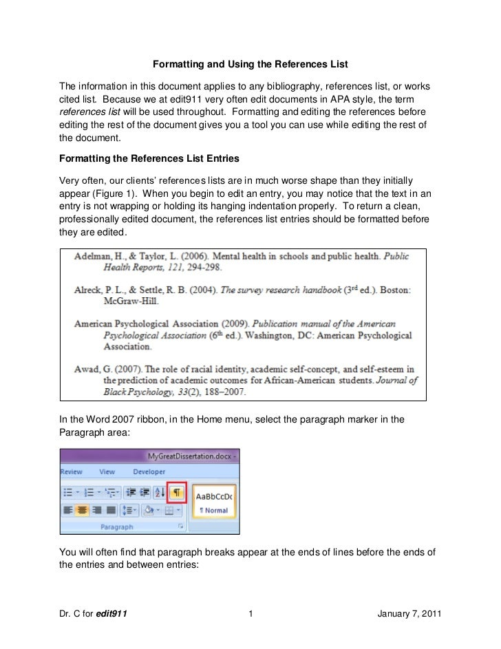 Formatting and Using the References ListThe information in this document applies to any bibliography, references list, or ...