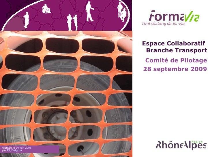 Comité de Pilotage 28 septembre 2009 Ajoutée le  20 juin 2008 par  El_Enigma   Espace Collaboratif  Branche Transport