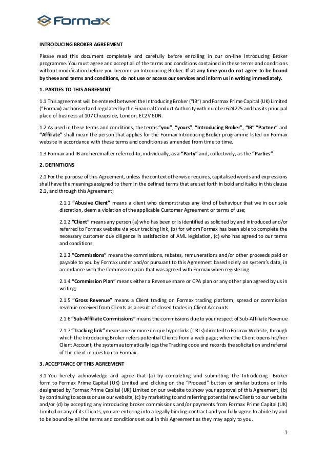 introducing broker agreement forex