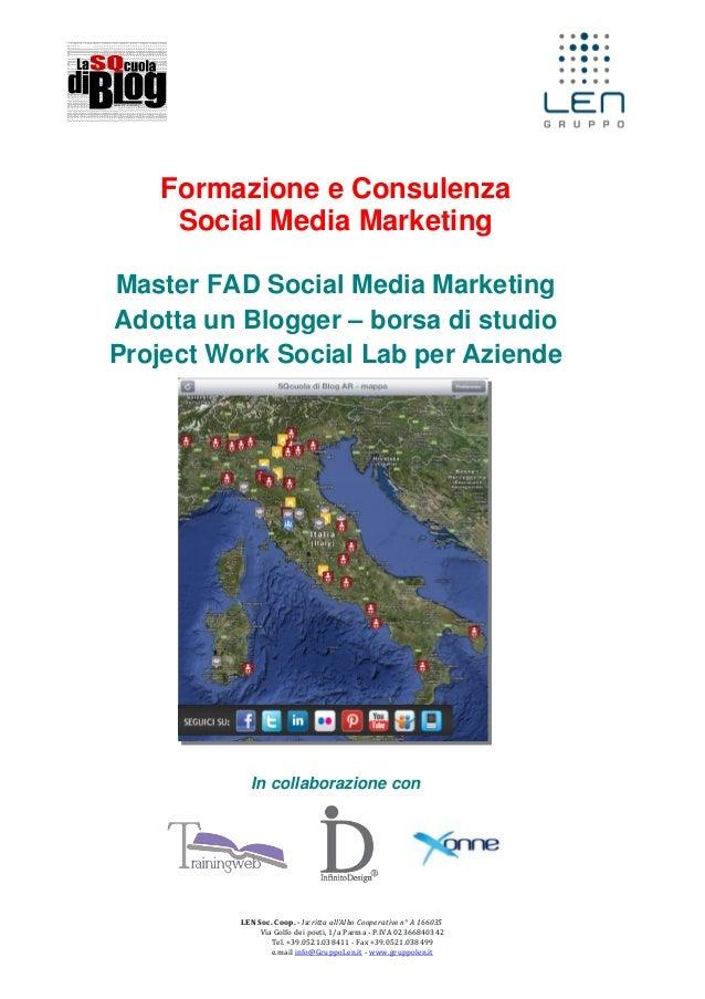 Formazione e Consulenza Social Media Marketing Master FAD Social Media Marketing Adotta un Blogger – borsa di studio Proje...