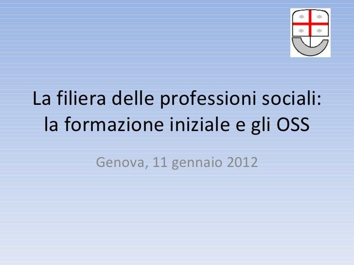 La filiera delle professioni sociali: la formazione iniziale e gli OSS Genova, 11 gennaio 2012