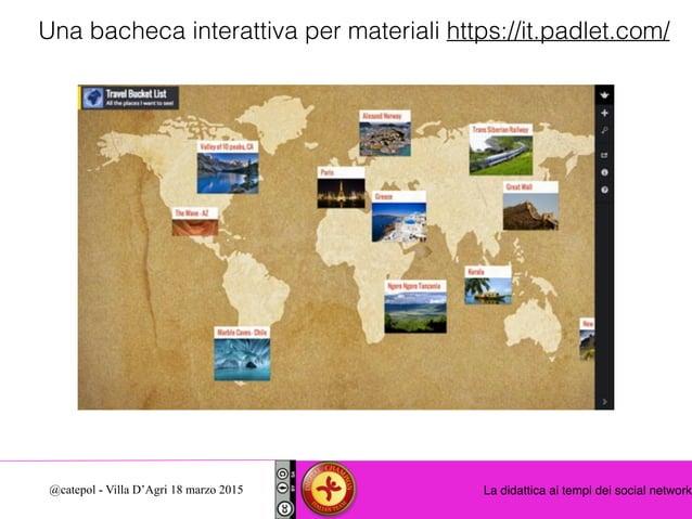 La didattica ai tempi dei social network@catepol - Villa D'Agri 18 marzo 2015 Una bacheca interattiva per materiali https:...