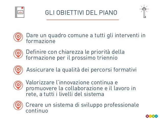 GLI OBIETTIVI DEL PIANO Dare un quadro comune a tutti gli interventi in formazione Valorizzare l'innovazione continua e pr...