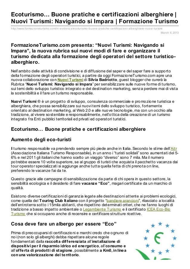 Ecoturismo… Buone pratiche e certificazioni alberghiere |Nuovi Turismi: Navigando si Impara | Formazione Turismohttp://www...