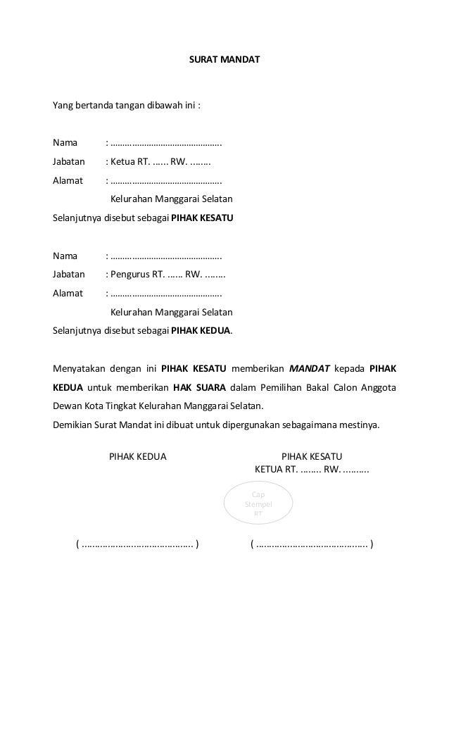 Form Pemilihan Balon Dewan Kota Tingkat Kelurahan