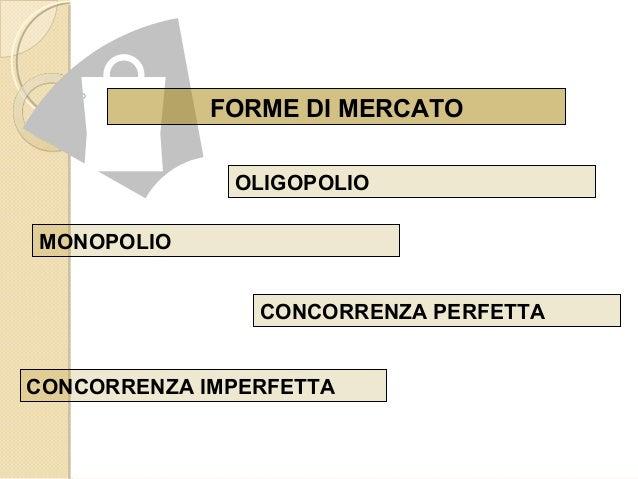 FORME DI MERCATO OLIGOPOLIO CONCORRENZA PERFETTA CONCORRENZA IMPERFETTA MONOPOLIO