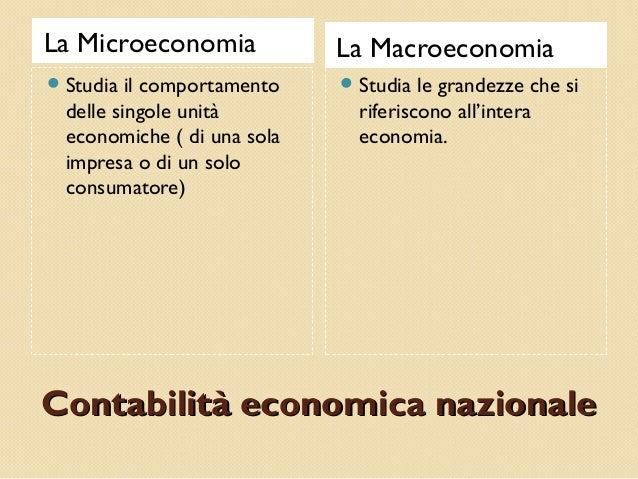 Contabilità economica nazionaleContabilità economica nazionale La Microeconomia La Macroeconomia Studia il comportamento ...