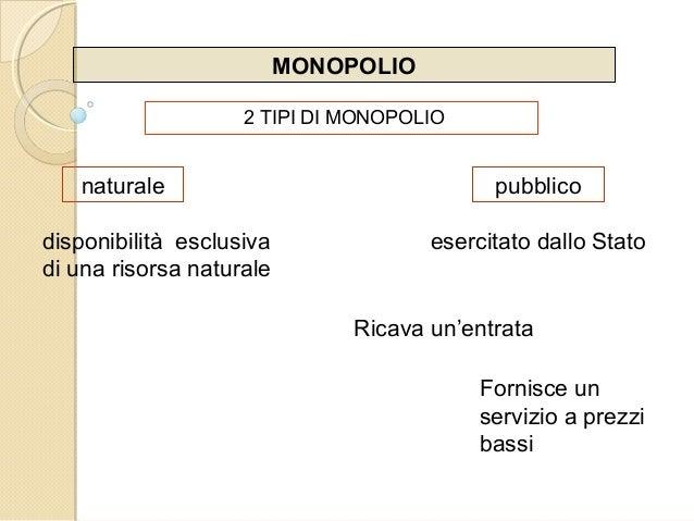 MONOPOLIO 2 TIPI DI MONOPOLIO naturale pubblico disponibilità esclusiva di una risorsa naturale esercitato dallo Stato Ric...
