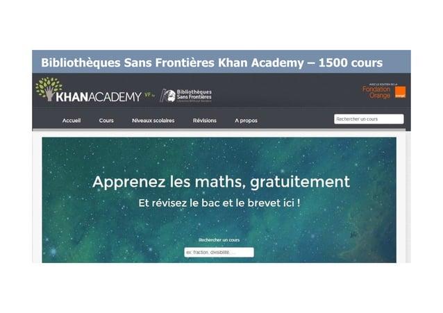 Bibliothèques Sans Frontières Khan Academy – 1500 cours