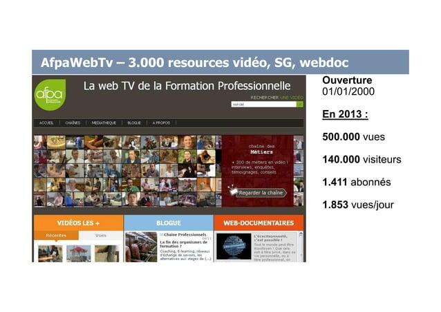 AfpaWebTv – 3.000 resources vidéo, SG, webdoc Ouverture 01/01/2000 En 2013 : 500.000 vues 140.000 visiteurs 1.411 abonnés ...