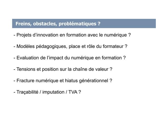 Freins, obstacles, problématiques ? - Projets d'innovation en formation avec le numérique ? - Modèles pédagogiques, place ...