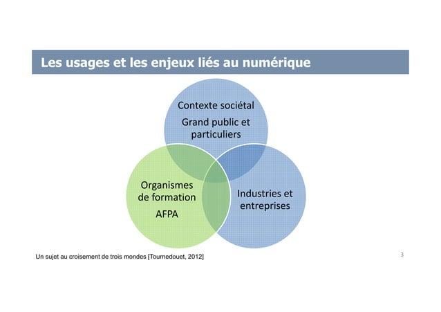 Les usages et les enjeux liés au numérique Contexte sociétal Grand public et particuliers Industries et entreprises Organi...