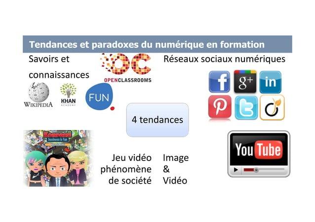 Tendances et paradoxes du numérique en formation Savoirs et connaissances Réseaux sociaux numériques Jeu vidéo phénomène d...
