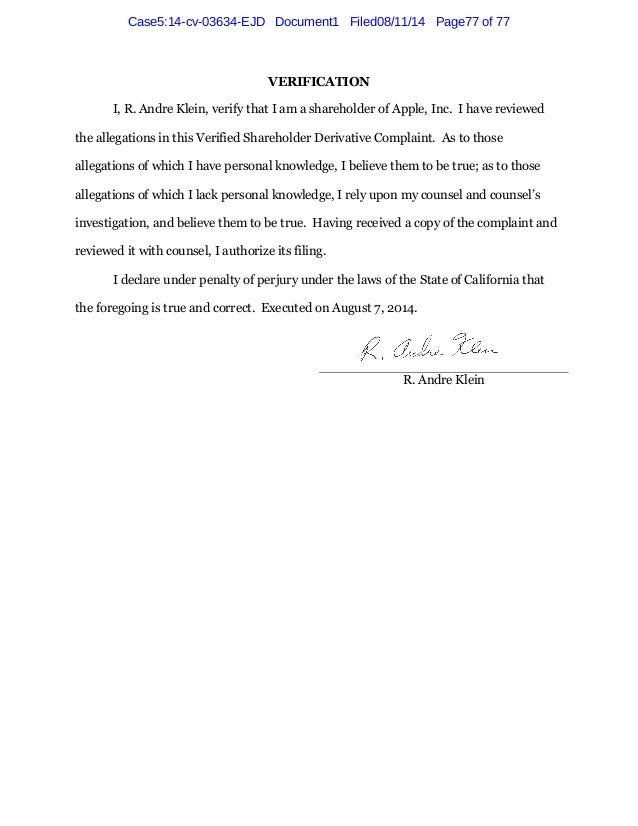 Former Steve Jobs and Board of Directors of Apple Inc. Sued by Shareholders - R. andre klein v. timothy d. cook, et al.