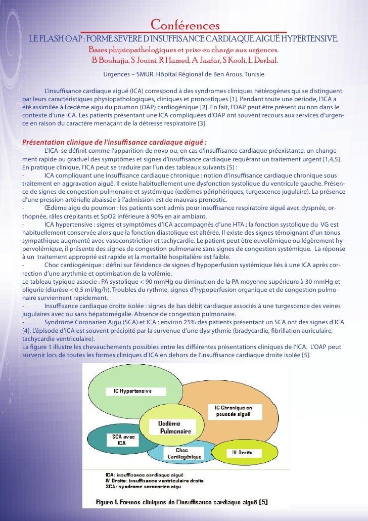 Conférences  LE FLASH OAP : FORME SEVERE D'INSUFFISANCE CARDIAQUE AIGUË HYPERTENSIVE.                  Bases physiopatholo...