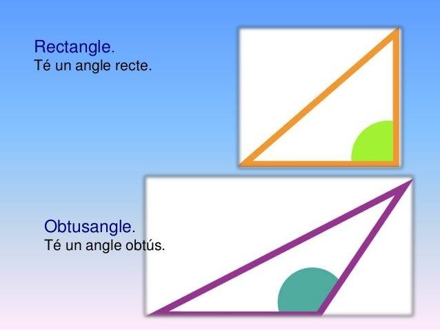 Els triangles es poden classificar segons Els seus costats Els seus angles • Equilàter • Isòsceles • Escalè • Acutangle • ...