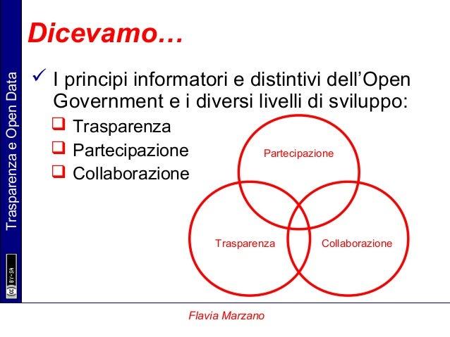 TrasparenzaeOpenData Flavia Marzano Dicevamo…  I principi informatori e distintivi dell'Open Government e i diversi livel...