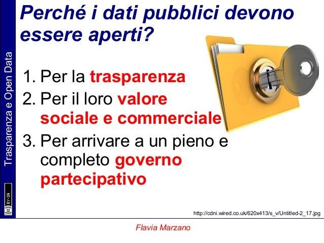 TrasparenzaeOpenData Flavia Marzano Perché i dati pubblici devono essere aperti? 1. Per la trasparenza 2. Per il loro valo...