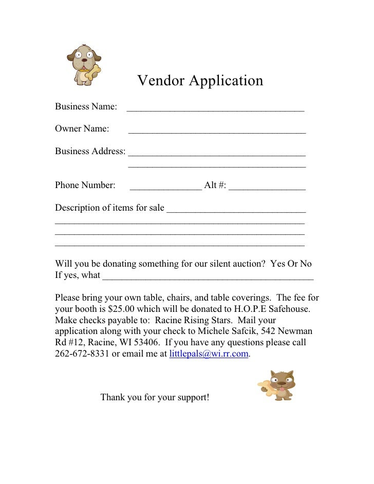 form-for-2009-vendor-application-1-728 Vendor Application Form Examples on swgc online, chinese visa, student year, social security, formal job, credit card, passport renewal, teaching job, blank job,