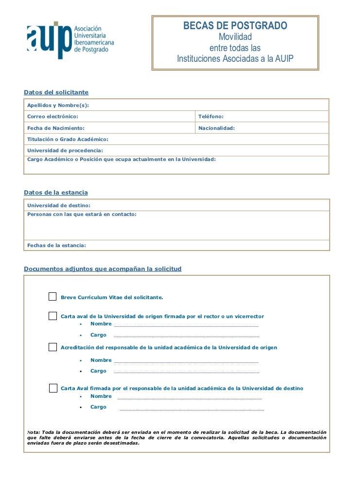 formulario de solicitud para el programa de movilidad