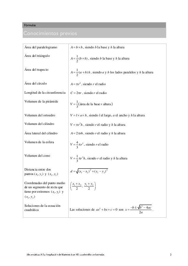 Formilario matematicas nivel superior