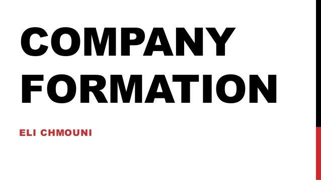 COMPANY FORMATION ELI CHMOUNI