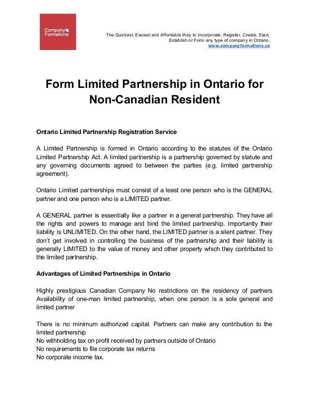 Form Limited Partnership In Ontario For Non Canadian Resident