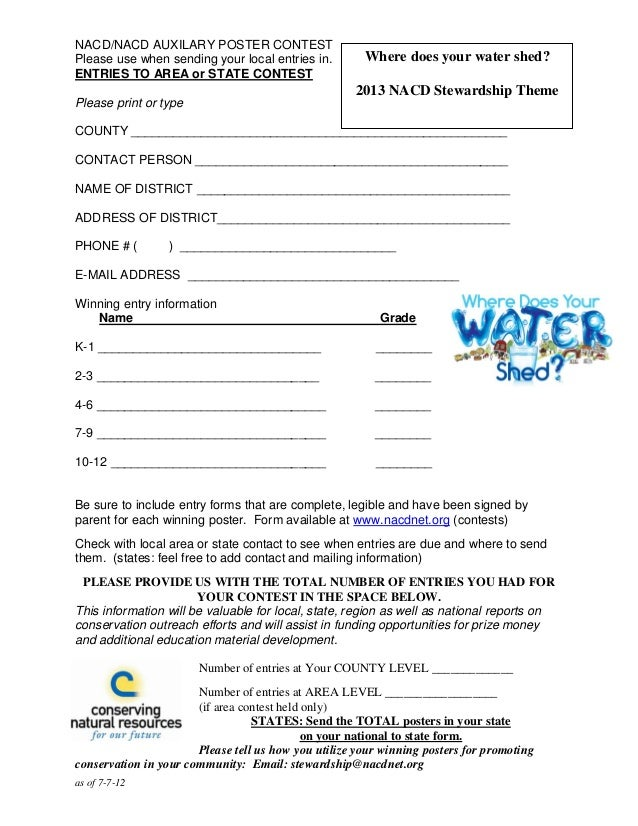 as of 7-7-12NACD/NACD AUXILARY POSTER CONTESTPlease use when sending your local entries in.ENTRIES TO AREA or STATE CONTES...