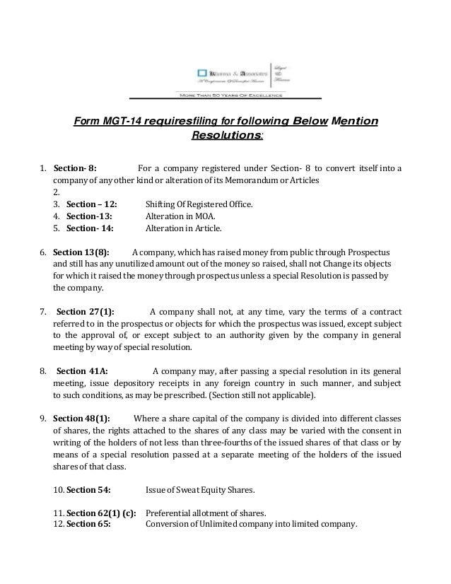 List of Resolution for which MGT-14 requires to be filed-Khanna & Ass…