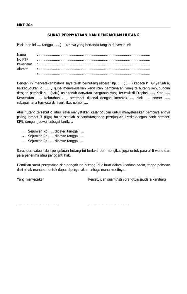 Form Mkt20a Surat Pernyataan Pengakuan Hutang
